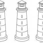 Lighthouse Coloring Pages Three Lighthouses