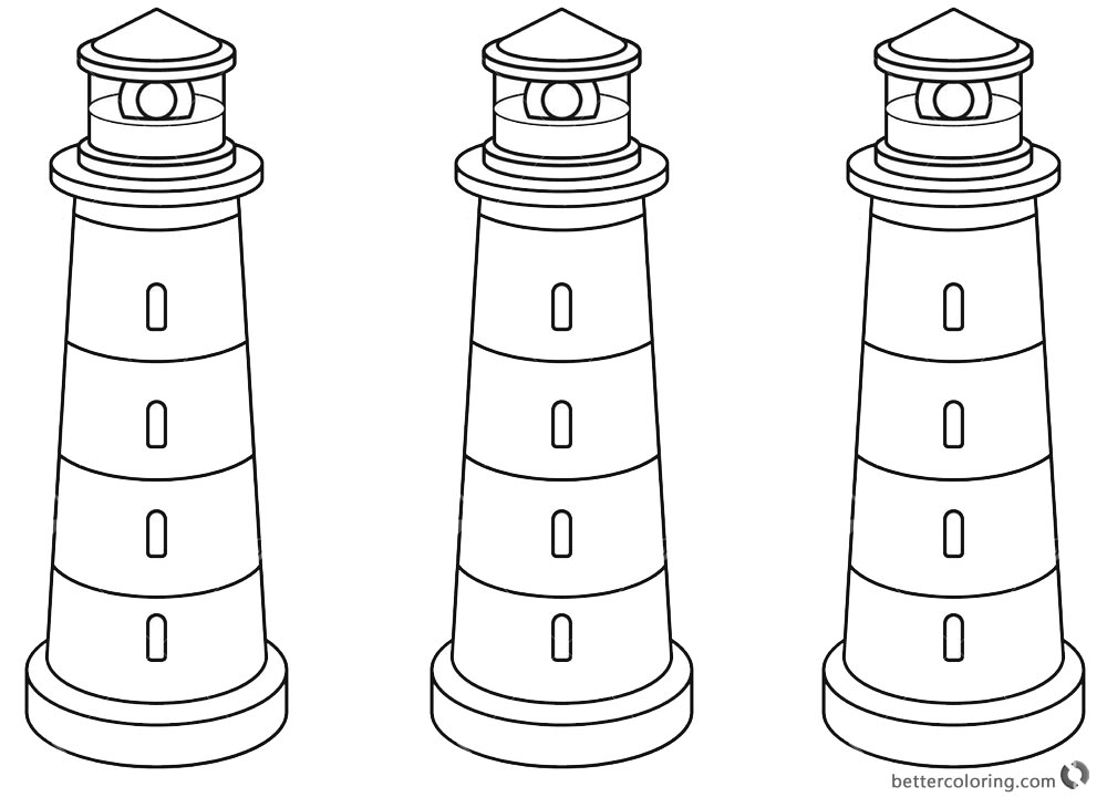 Lighthouse Coloring Pages Three Lighthouses printable for free