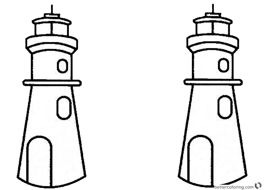 Lighthouse Coloring Pages Two Lighthouses printable for free