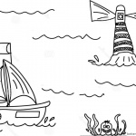 Lighthouse Coloring Pages with A Boat