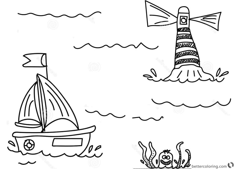 Lighthouse Coloring Pages with A Boat printable for free