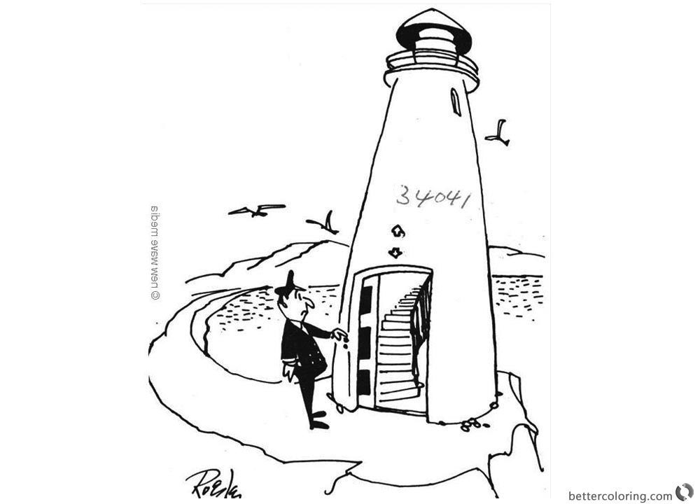 Lighthouse Coloring Pages with Captain printable for free