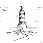 Lighthouse Coloring Pages with Clouds Drawing