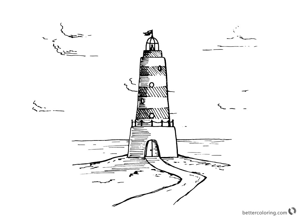 Lighthouse Coloring Pages with Clouds Drawing printable for free