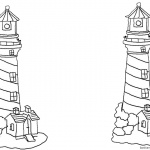 Lighthouse Coloring Pages with Houses