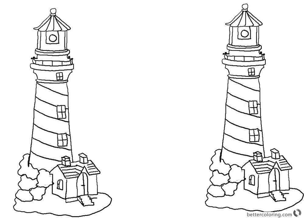 Lighthouse Coloring Pages with Houses - Free Printable Coloring Pages