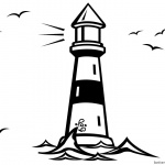 Lighthouse Coloring Pages with Seagulls