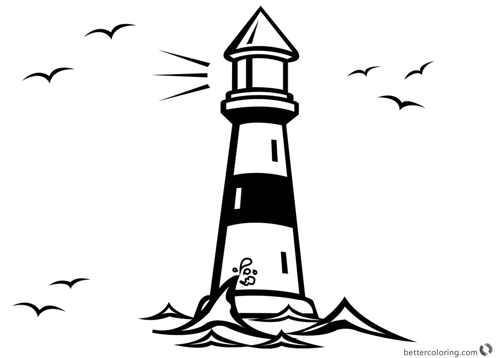 Lighthouse Coloring Pages with Seagulls - Free Printable Coloring Pages