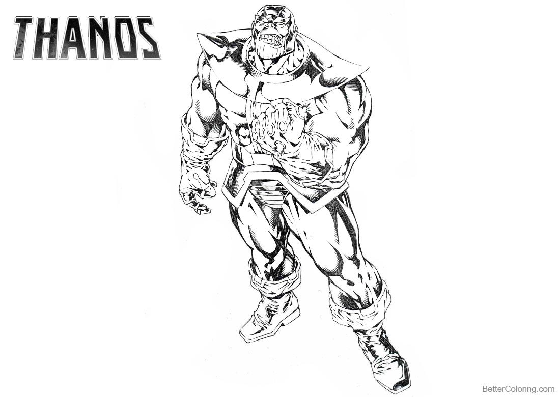 Superhero Thanos Coloring Pages: Marvel Avengers Thanos Coloring Pages