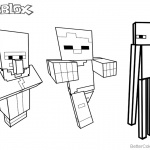 Minecraft Characters Coloring Pages Roblox Line Art Pictures