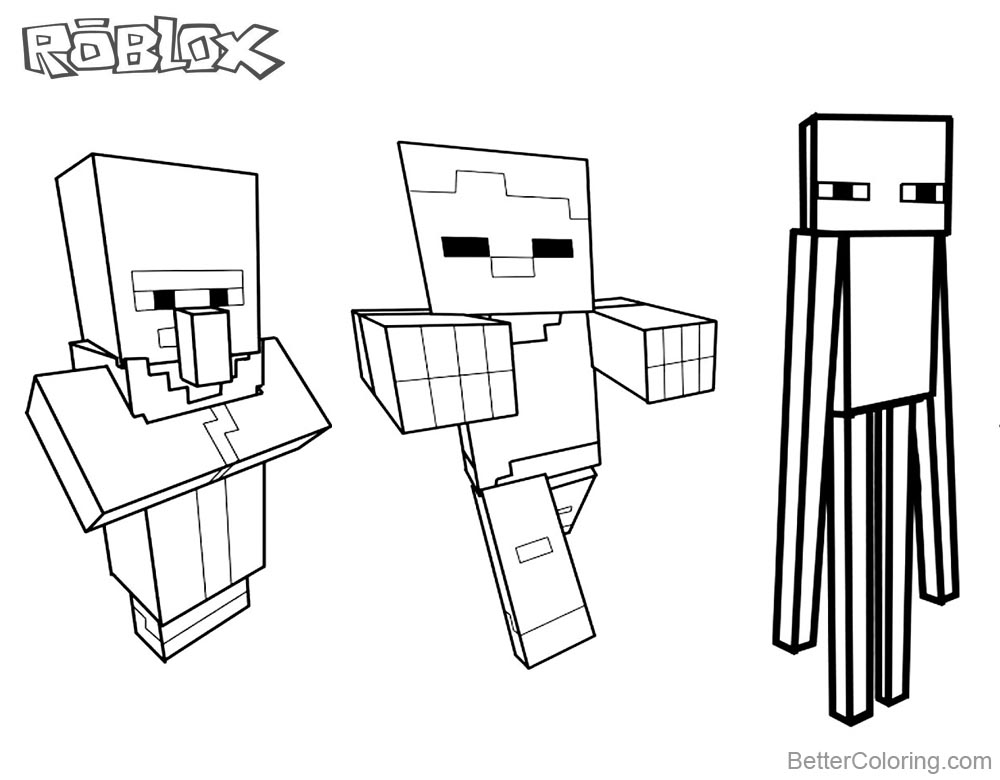 Minecraft Characters Coloring Pages Roblox Line Art Pictures printable for free