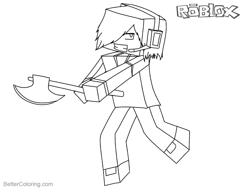 Minecraft Coloring Pages Line Sketch Of Roblox