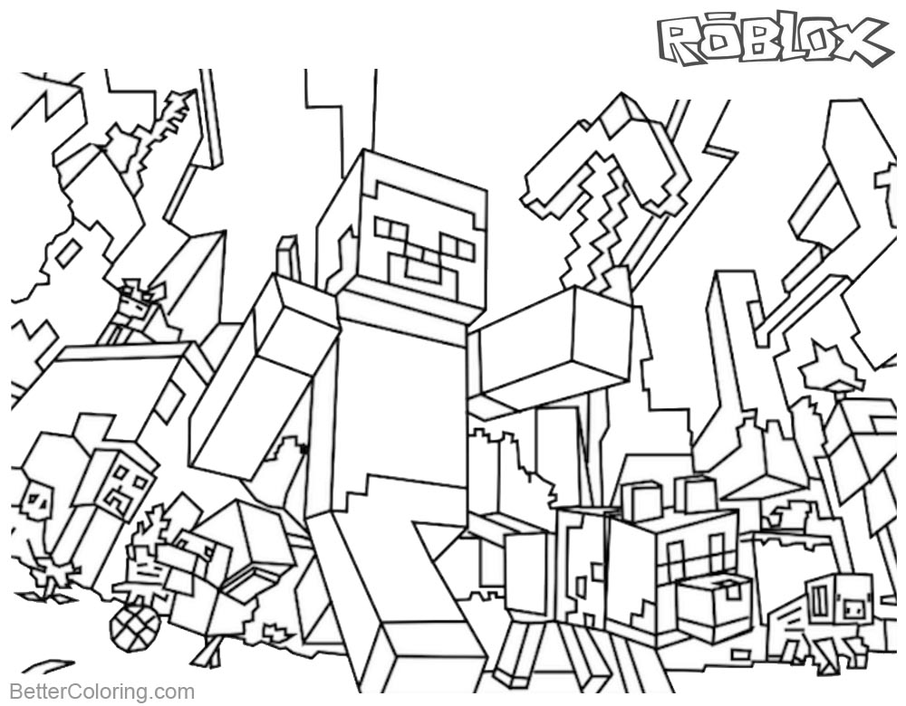 Dibujos Sin Colorear Dibujos De Minecraft Para Colorear: Minecraft Coloring Pages Roblox Coloring Pages