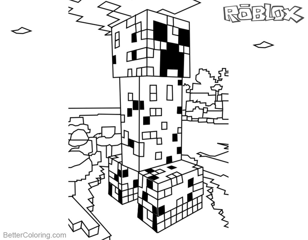 Minecraft Coloring Pages Roblox Creeper printable for free
