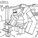 Minecraft of Roblox Coloring Pages Black and White