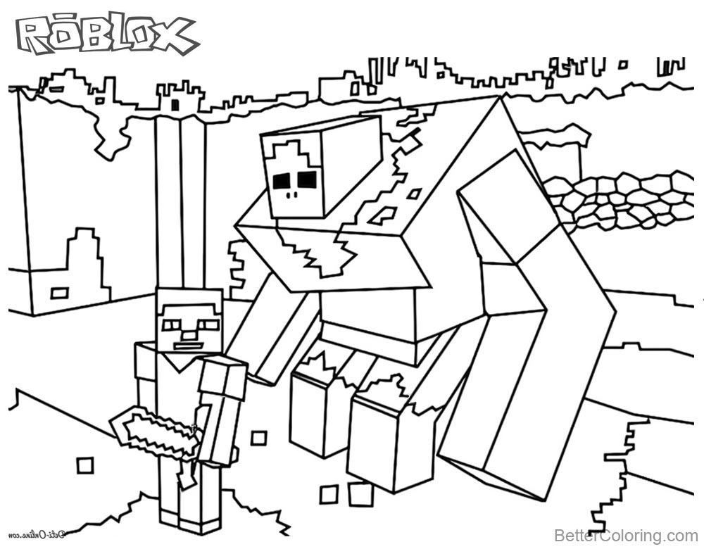 Minecraft of Roblox Coloring Pages Black and White printable for free