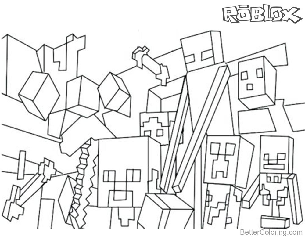 Minecraft of Roblox Coloring Pages Characters and Logo printable for free