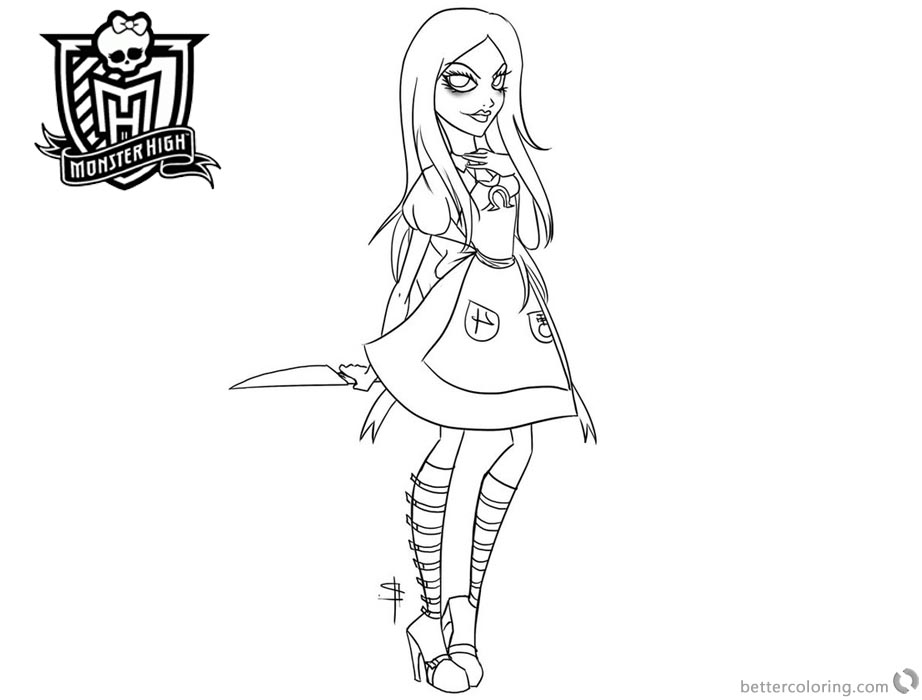 Monster High Coloring Pages Lineart by rukiexramen printable for free