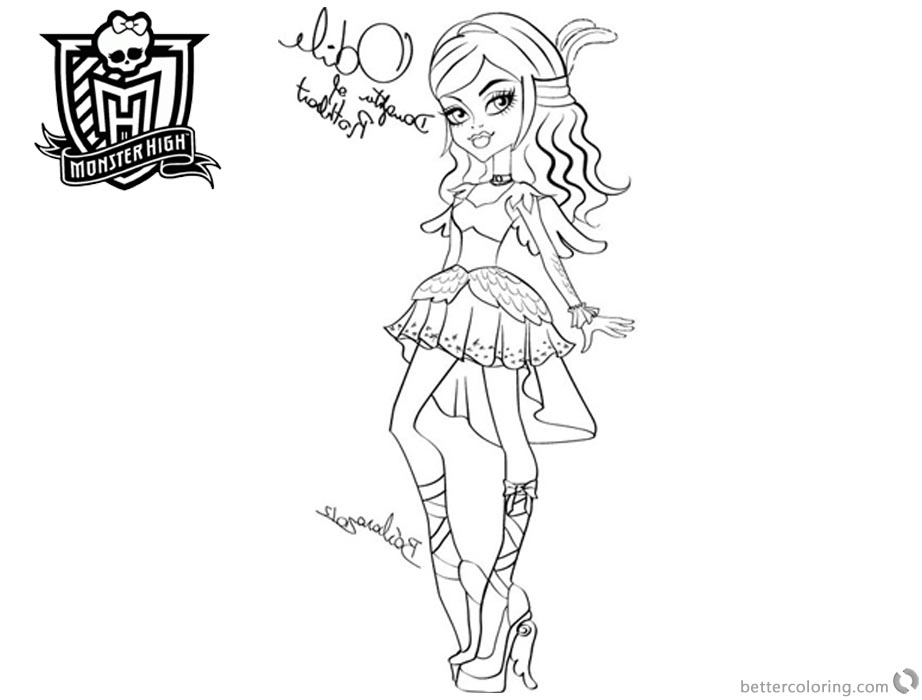 Monster High Coloring Pages Odile lineart printable for free