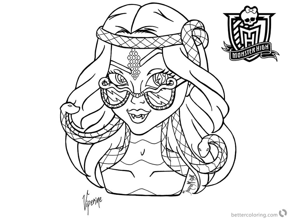 Monster High Coloring Pages Viperine Gorgon printable for free