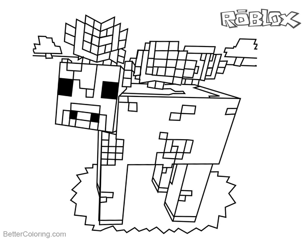 Mooshroom from Minecraft Coloring Pages Roblox Characters printable for free