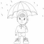Noddy in Raindrops Coloring Pages