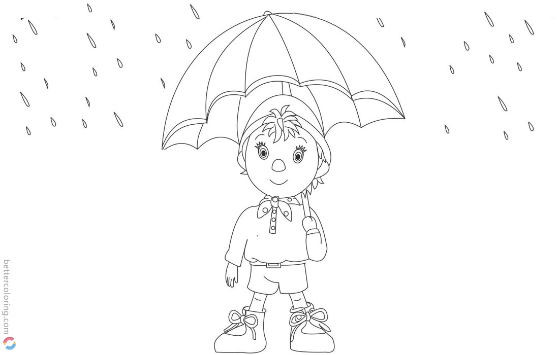 Noddy in Raindrops Coloring Pages - Free Printable Coloring Pages