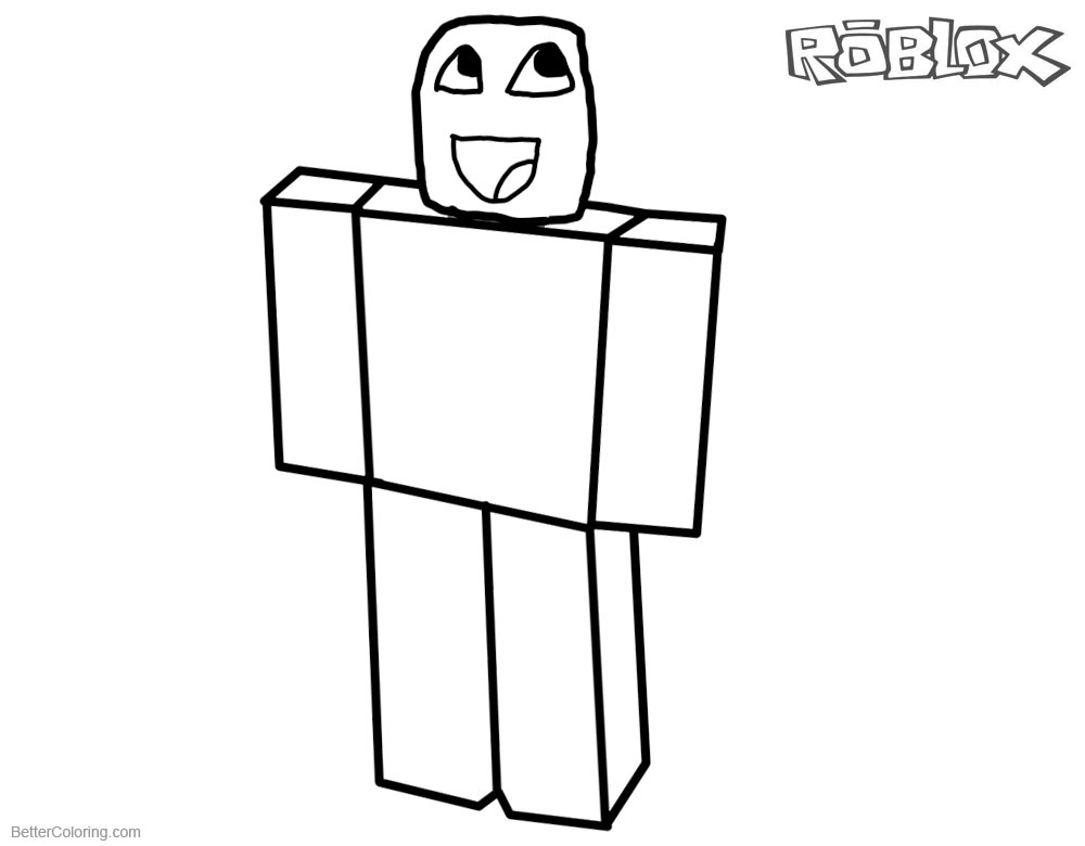 Noob from Roblox Coloring Pages by casualcoolseb973 Free