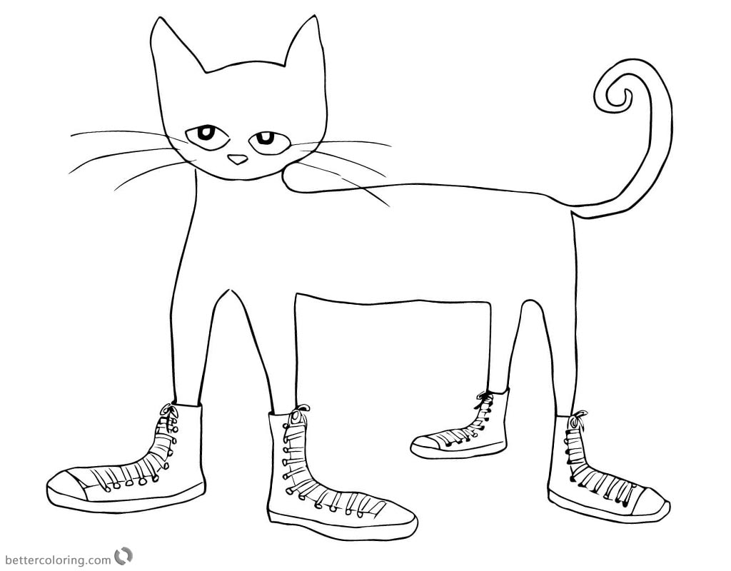 Pete the Cat Coloring Pages Cat in Shoes Clipart - Free Printable ...