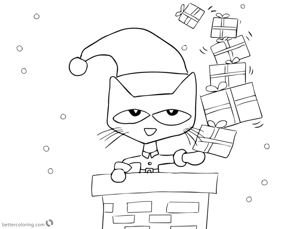 Pete the Cat Coloring Pages Christmas Gifts printable for free