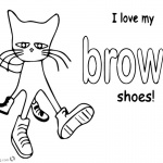 Pete the Cat Coloring Pages Color Brown Shoes