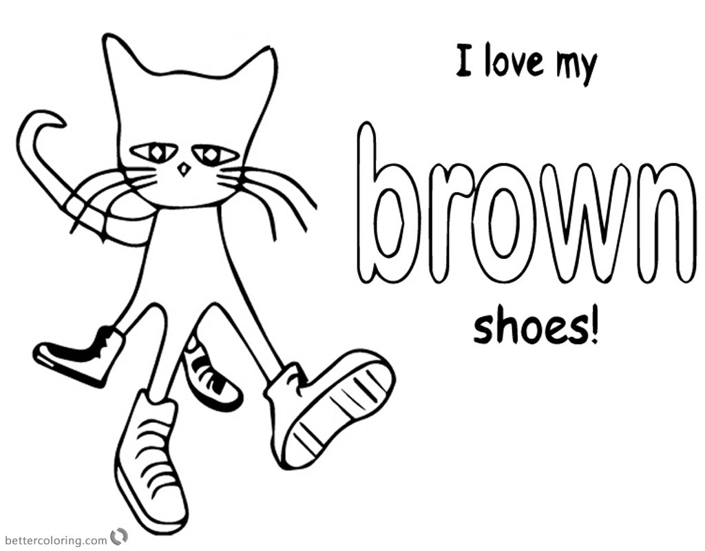 Pete the Cat Coloring Pages Color Brown Shoes printable for free