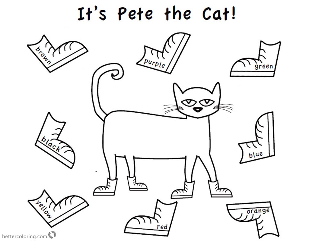 Pete the Cat Coloring Pages Color Eight Shoes Free