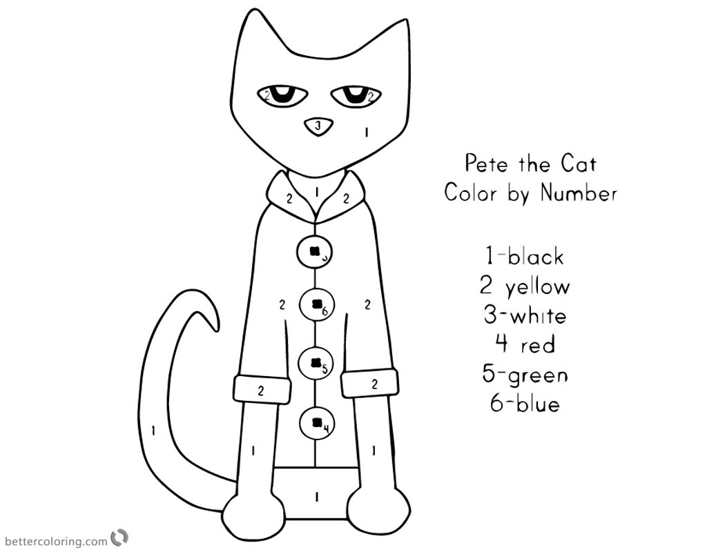 Pete the Cat Coloring Pages Color Pete by Number Free