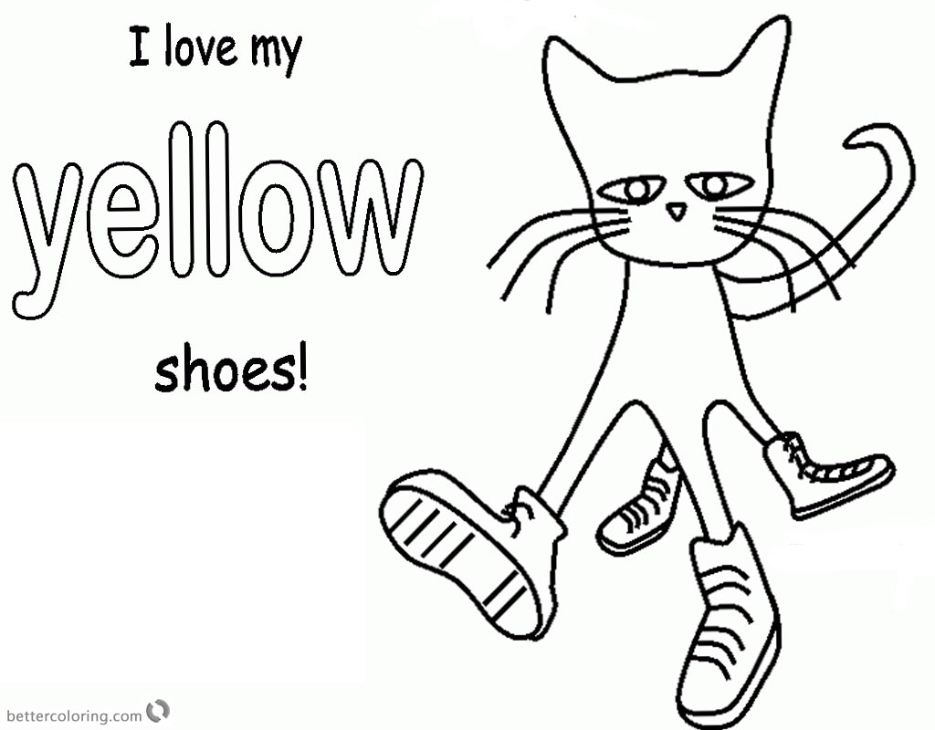 Pete the Cat Coloring Pages Color Yellow Shoes Free