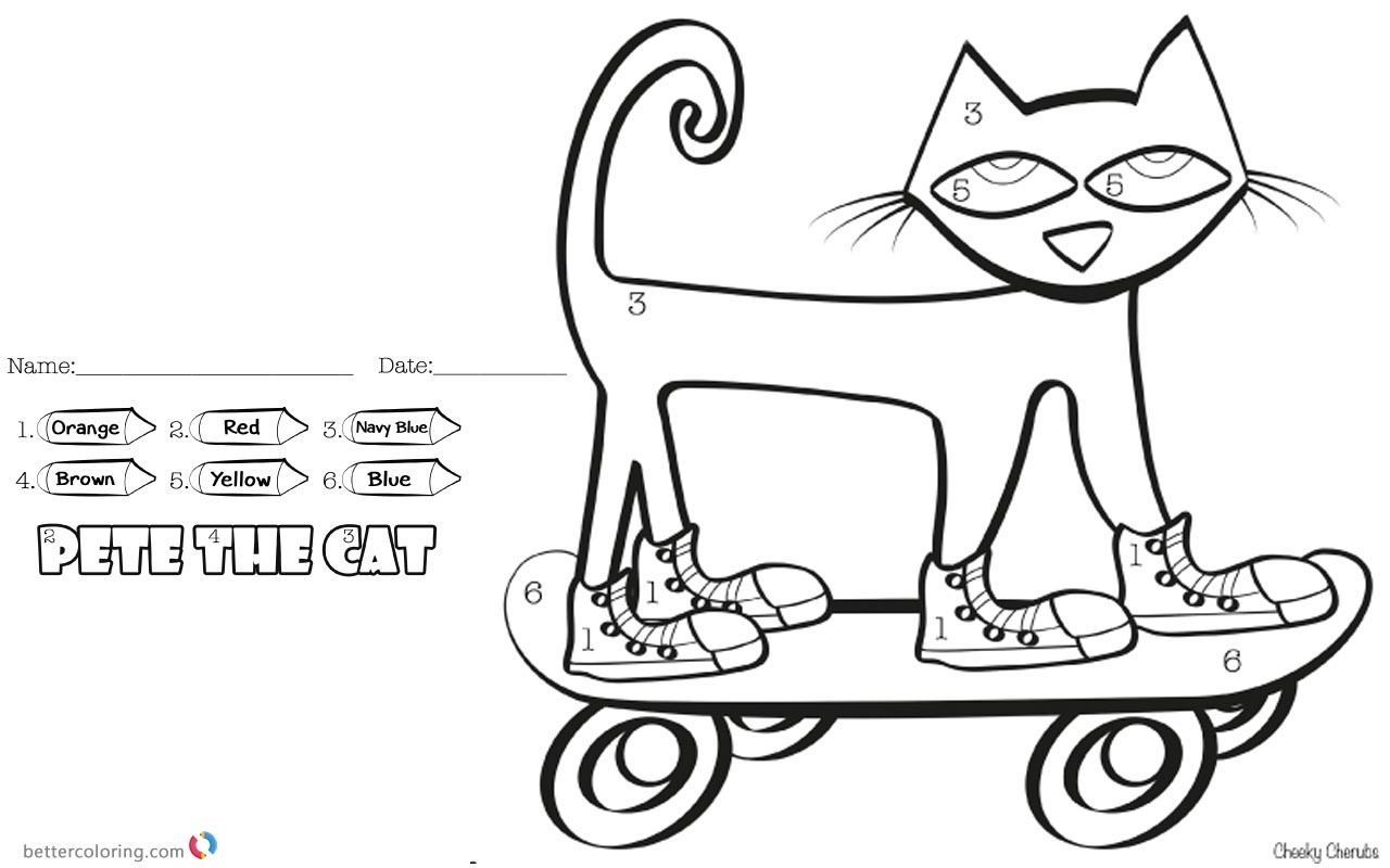 picture relating to Pete the Cat Shoes Printable referred to as Pete the Cat Coloring Internet pages Coloration by means of Selection Skateboard