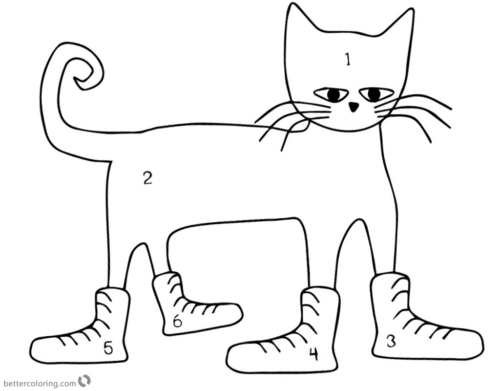 Pete the Cat Coloring Pages Color the Cat by Numbers - Free ...