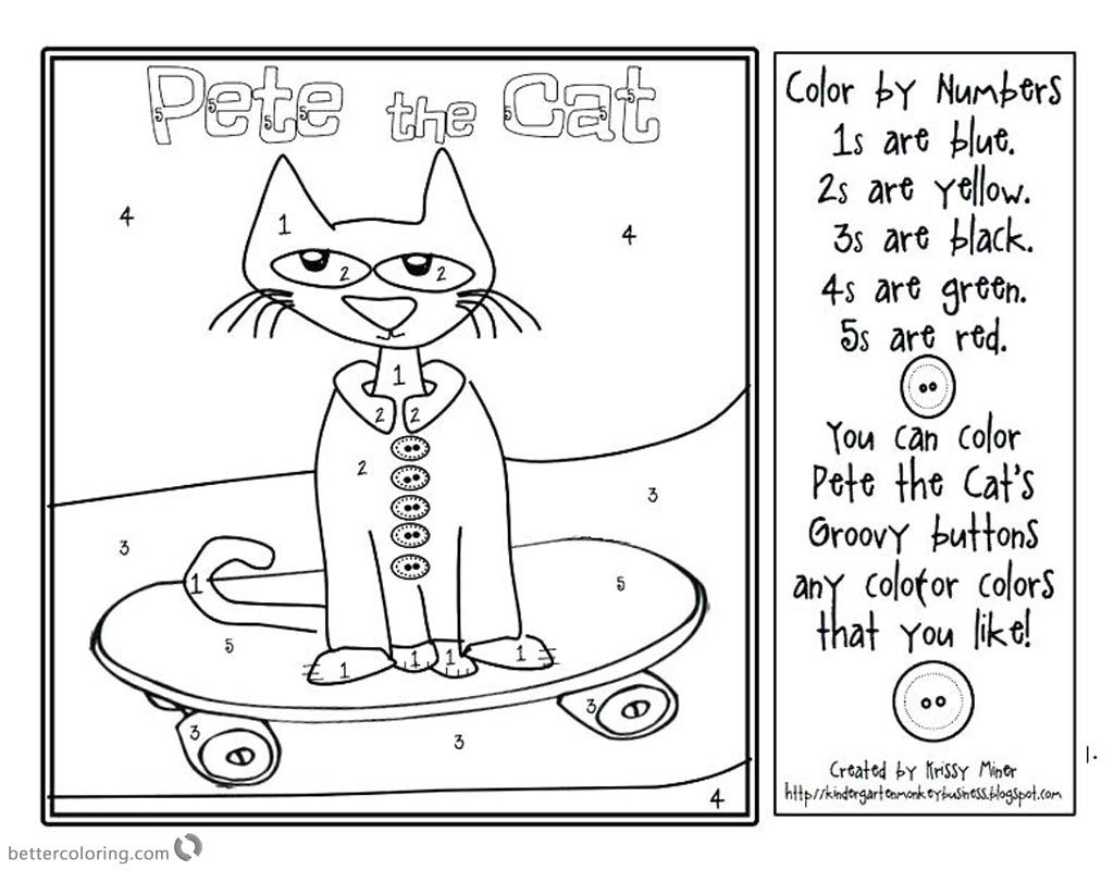Pete the Cat Coloring Pages Coloring by Number printable for free