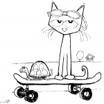 Pete the Cat Coloring Pages Fanart Play Skateboard