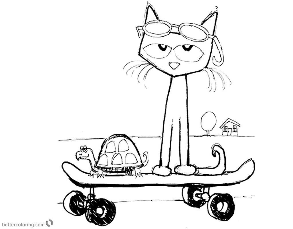 Pete the Cat Coloring Pages Fanart Play Skateboard Free