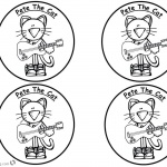 Pete the Cat Coloring Pages Four Stickers