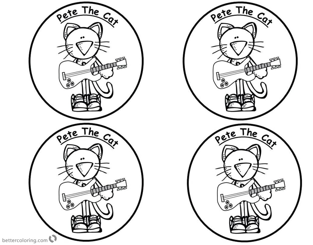 Pete the Cat Coloring Pages Four Stickers - Free Printable Coloring ...