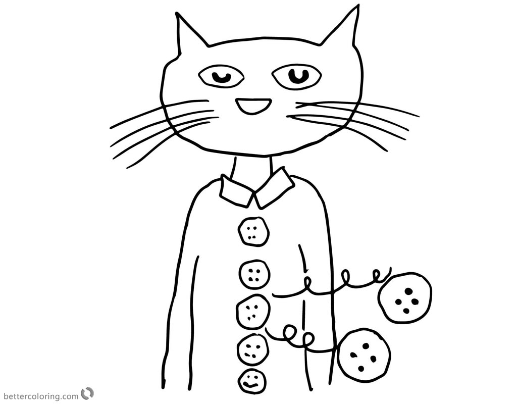 Pete the Cat Coloring Pages Groovy Buttons Free