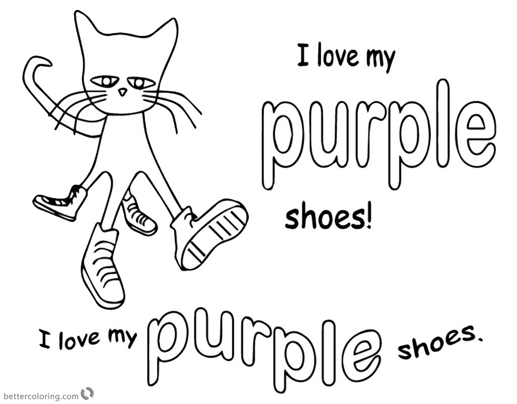 Pete the Cat Coloring Pages I Love My Purple Shoes - Free Printable ...