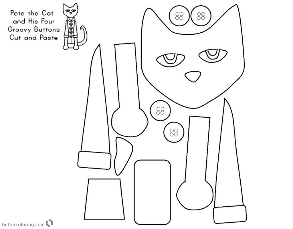 Pete the Cat Coloring Pages Paper Craft Activity Free