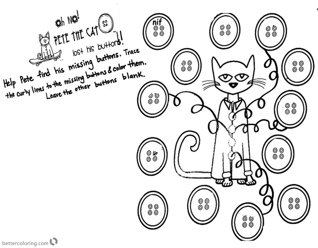 Pete the Cat Coloring Pages Pete Needs Help printable for free