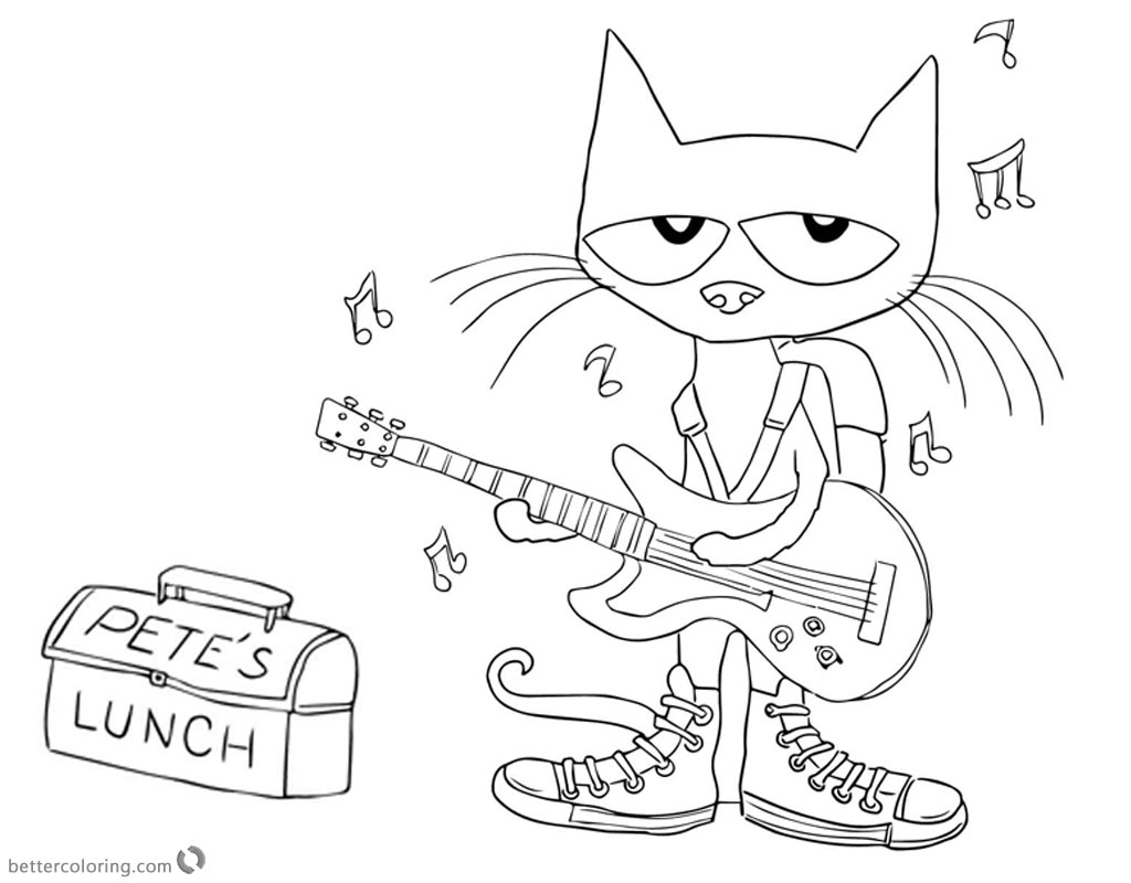 Pete the Cat Coloring Pages Play Guitar for Lunch - Free Printable ...