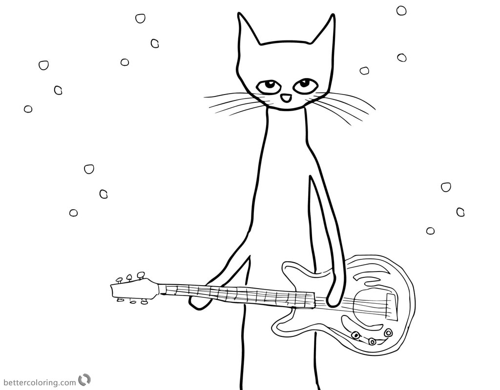 Pete the Cat Coloring Pages Rocking Star Free Printable
