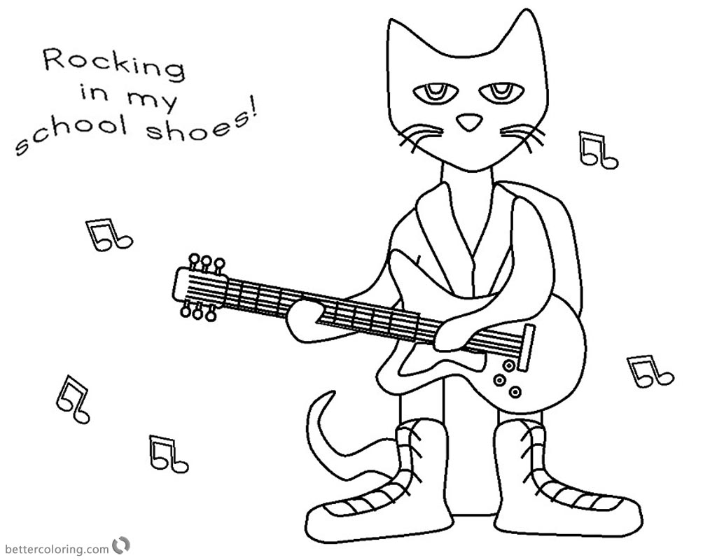 Pete the Cat Coloring Pages Rocking in My School Shoes - Free ...