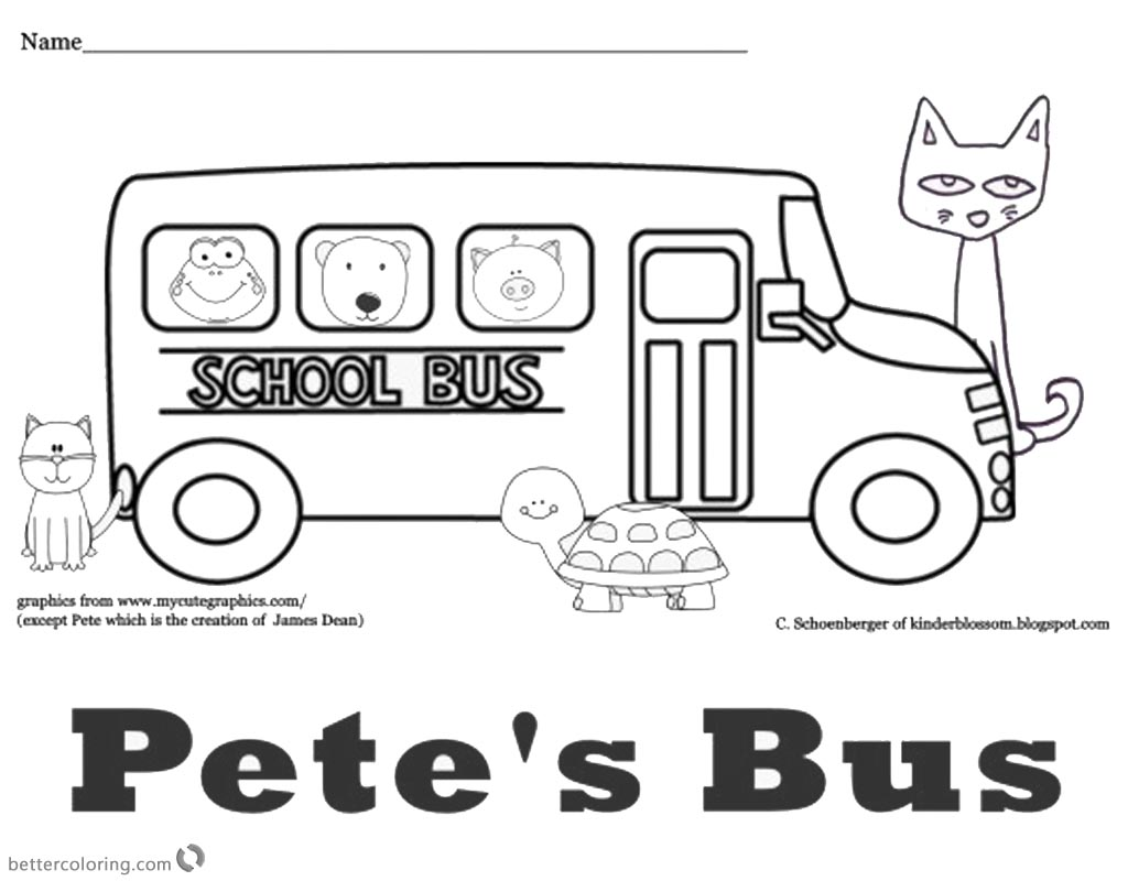 Pete the Cat Coloring Pages School Bus - Free Printable Coloring Pages